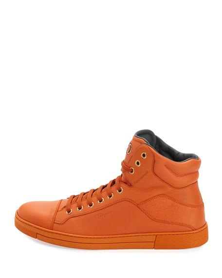 Calfskin High-Top Sneaker, Orange