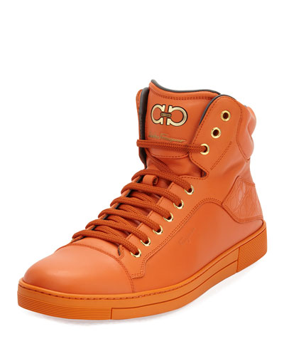 Calfskin High-Top Sneaker, Orange