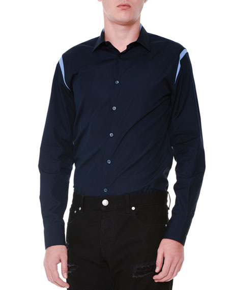 Cutout-Trim Button-Down Woven Shirt, Navy