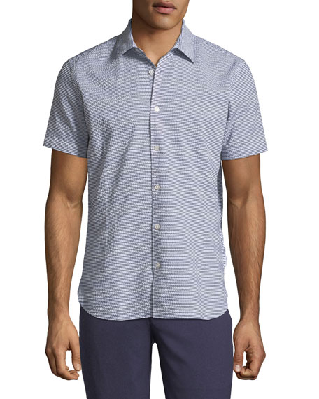 Orlebar Brown Morton Striped Seersucker Short-Sleeve Sport Shirt,