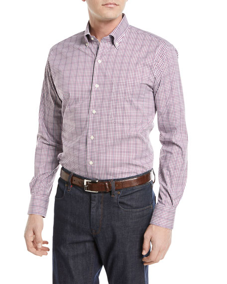 Peter Millar Diamond Head Gingham Cotton-Blend Sport Shirt