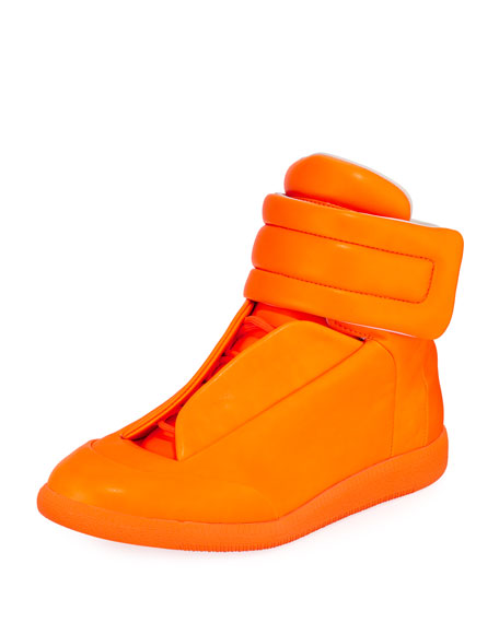 Maison Margiela Future Neon Leather High-Top Sneakers and