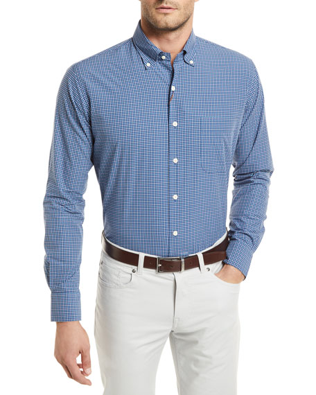 Peter Millar Crown Finish Box-Print Shirt