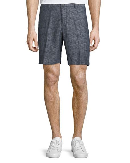 Paisley Chambray Flat-Front Shorts