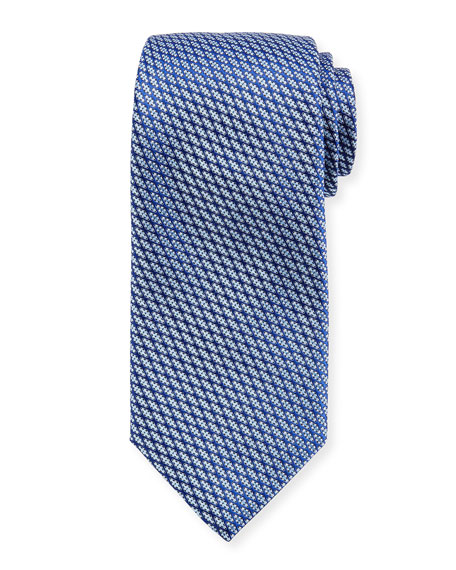 Canali Lattice Silk Tie, Blue