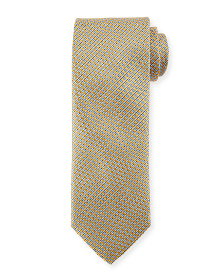 Canali Lattice Silk Tie, Yellow