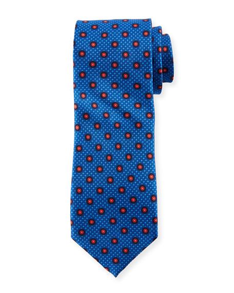 Multi-Circles Silk Tie, Blue