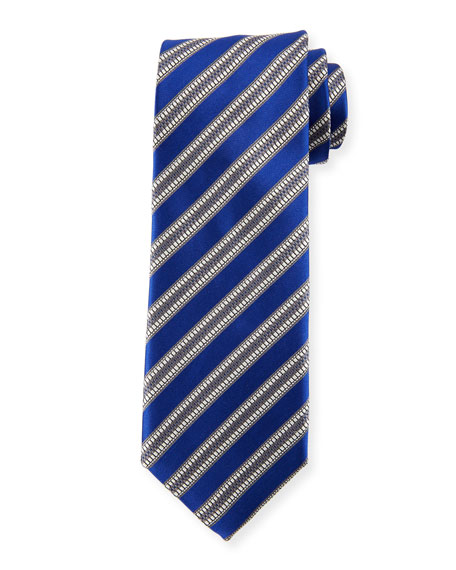 Textured Stripe Silk Tie, Blue