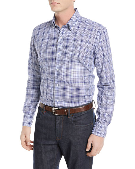 Peter Millar Seabound Chambray Plaid Sport Shirt