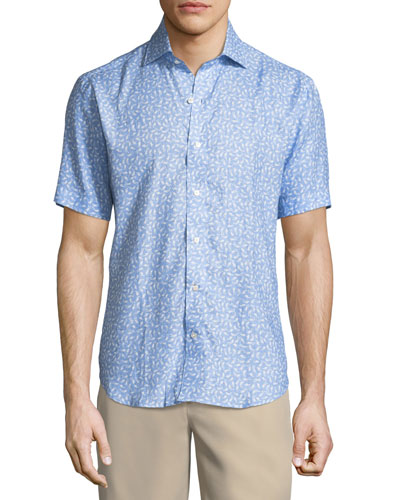 Life Aquatic Short-Sleeve Linen Sport Shirt