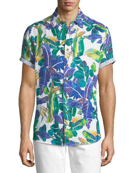 Robert Graham Dandus Short-Sleeve Linen Shirt