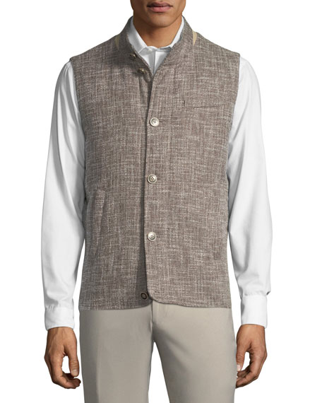 Expedition Textured-Woven Button-Front Vest