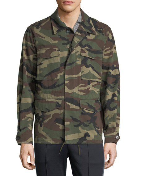 Camouflage-Print Military Jacket
