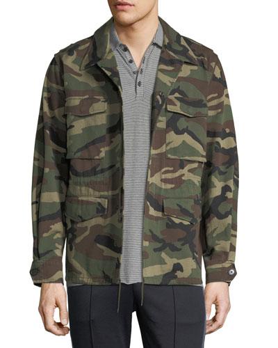 Camouflage-Print Military Jacket