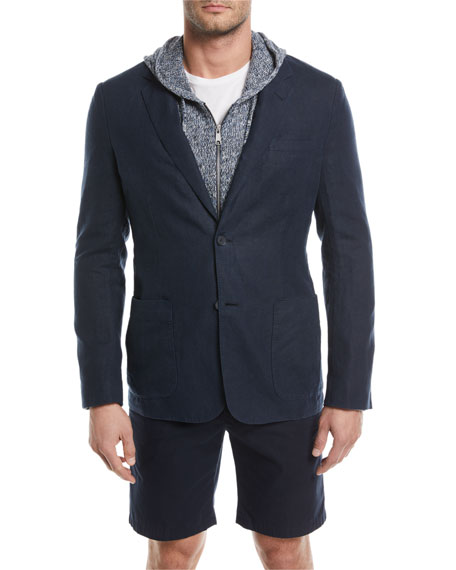 Textured Hemp Two-Button Blazer