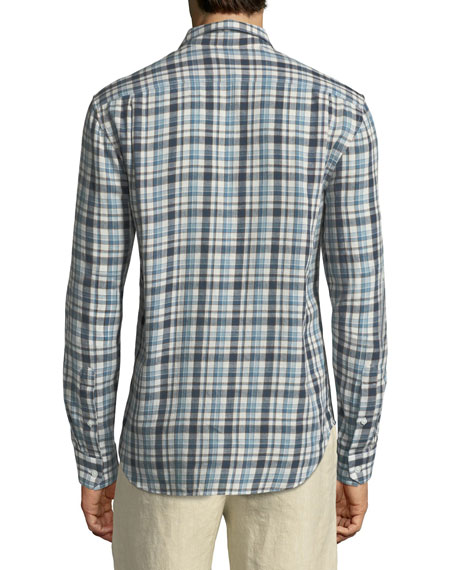Multi-Plaid Sport Shirt, White/Blue