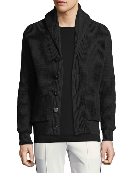 Shawl-Collar Cotton Cardigan