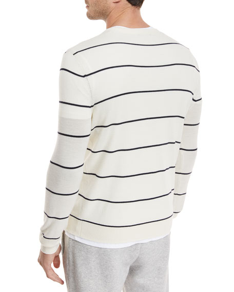 Textured Stripe Crewneck Sweater