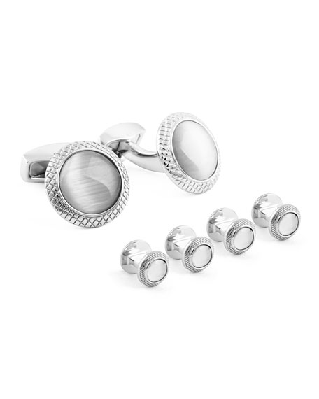 Rhodium-Plated Glass Cuff Links & Stud Set