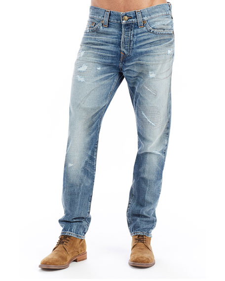 True Religion Logan Distressed Straight-Leg Jeans