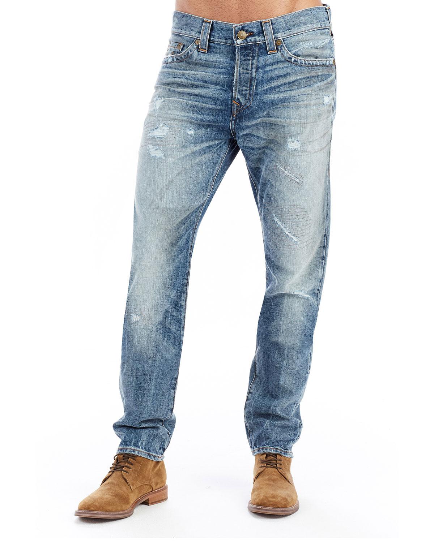 a291dda7af8 True Religion Logan Distressed Straight-Leg Jeans