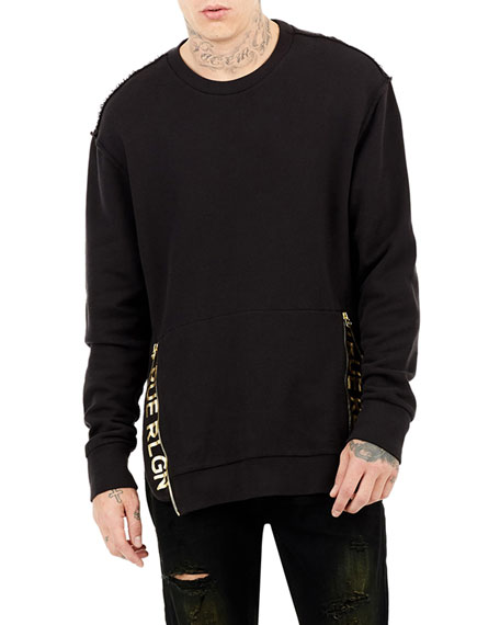 Zip-Trim Crewneck Sweater