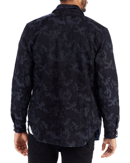 Camouflage-Print Denim Field Jacket