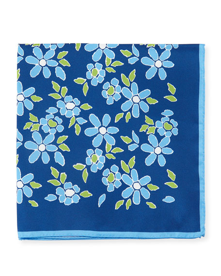 Kiton Floral-Print Silk Pocket Square