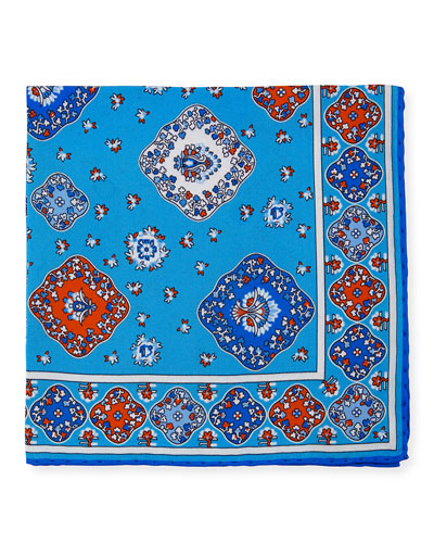 Moroccan Silk Pocket Square, Light Blue