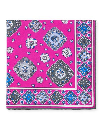 Moroccan Silk Pocket Square, Pink