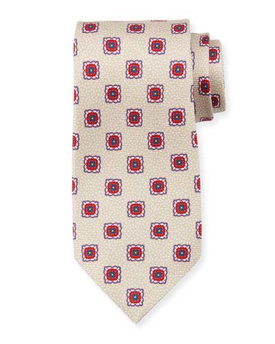 Fancy Medallion Silk Tie, Beige