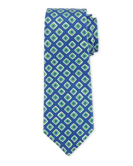 Kiton Geometric-Print Silk Tie