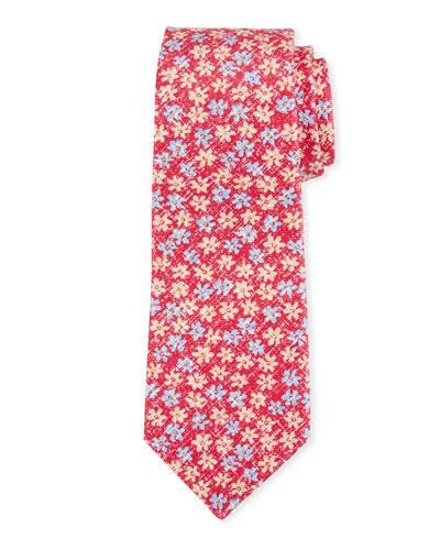 Mini Floral-Print Silk Tie