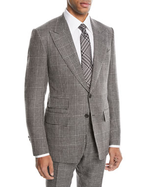 bf564e2a73913 TOM FORD Shelton Large-Plaid Wool-Blend Two-Piece Suit