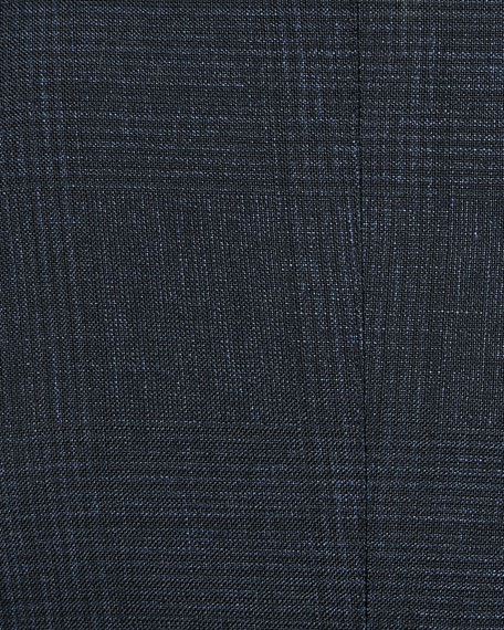 O'Connor 1/2-Lined Plaid Mohair-Linen Blazer