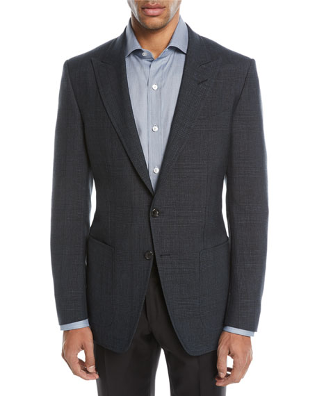 TOM FORD O'Connor 1/2-Lined Plaid Mohair-Linen Blazer
