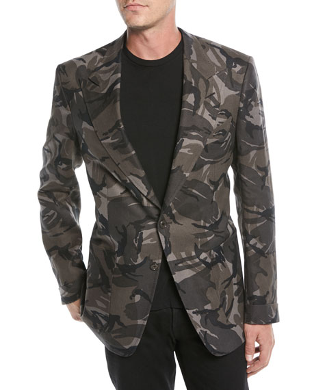 Men's Camouflage-Print Linen Two-Button Jacket