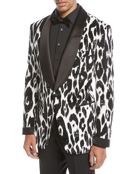 Ikat-Print Shawl Collar Dinner Jacket