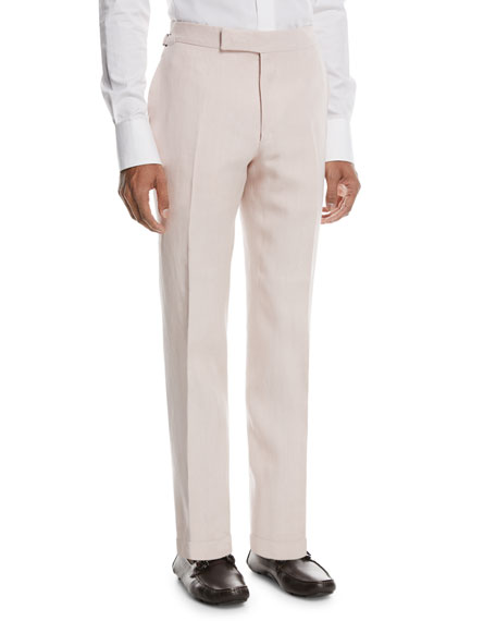 Solid Linen Trousers, Light Pink
