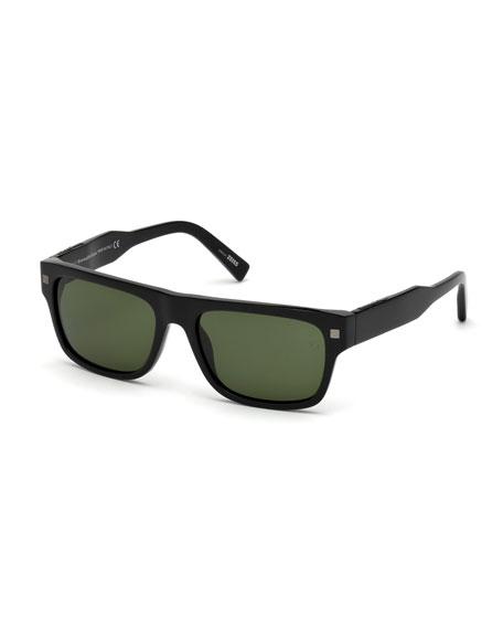 Ermenegildo Zegna Square Acetate Sunglasses