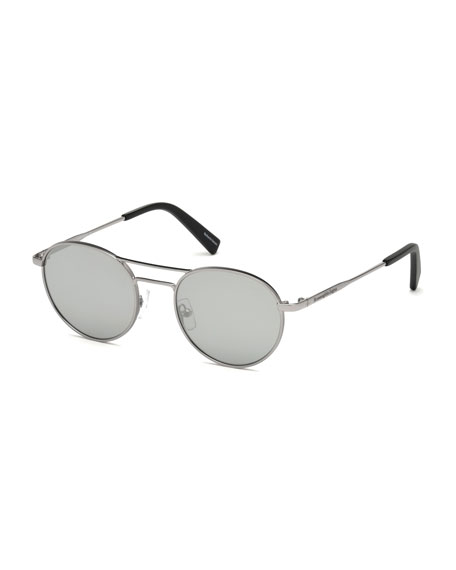 Metal Double-Bar Round Sunglasses