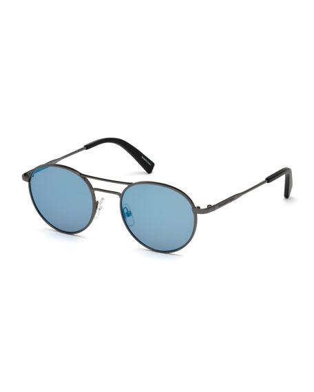 Gunmetal Round Sunglasses