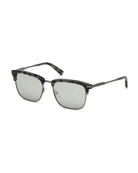 Ermenegildo Zegna Half-Rim Acetate/Metal Sunglasses, Gray/Brown