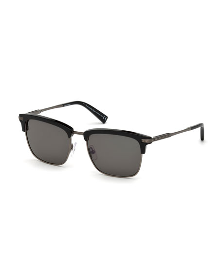 Square Metal/Acetate Sunglasses