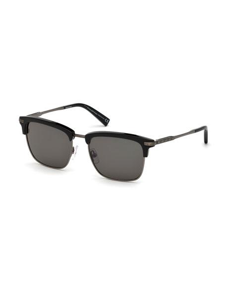 Ermenegildo Zegna Square Metal/Acetate Sunglasses