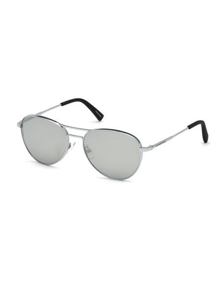 Ermenegildo Zegna Metal Double-Bar Mirrored Aviator Sunglasses