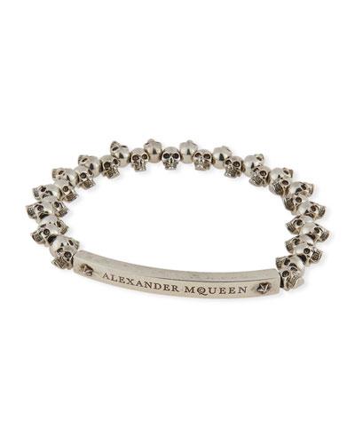 Men's Brass Mini-Skull Bead Bracelet