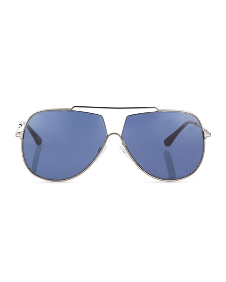 Chase Double-Bar Aviator Sunglasses, Blue