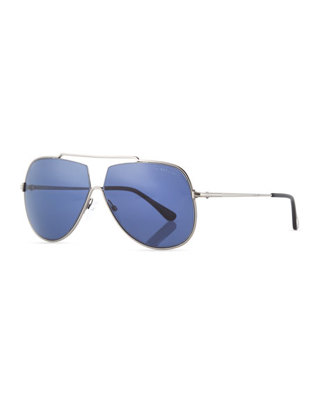 TOM FORD Chase Double-Bar Aviator Sunglasses, Blue