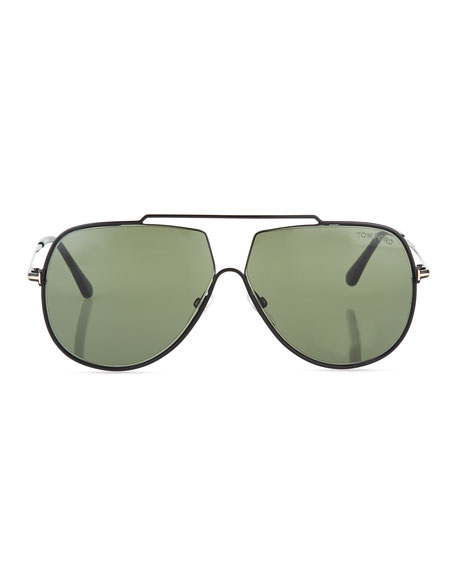 Chase Double-Bar Aviator Sunglasses, Green